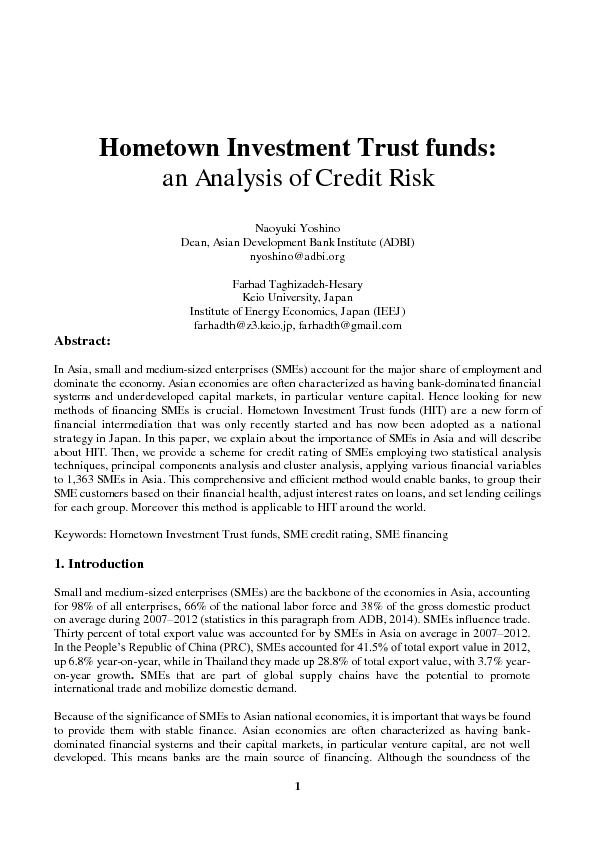 Hometown Investment Trust funds: an Analysis of Credit Risk