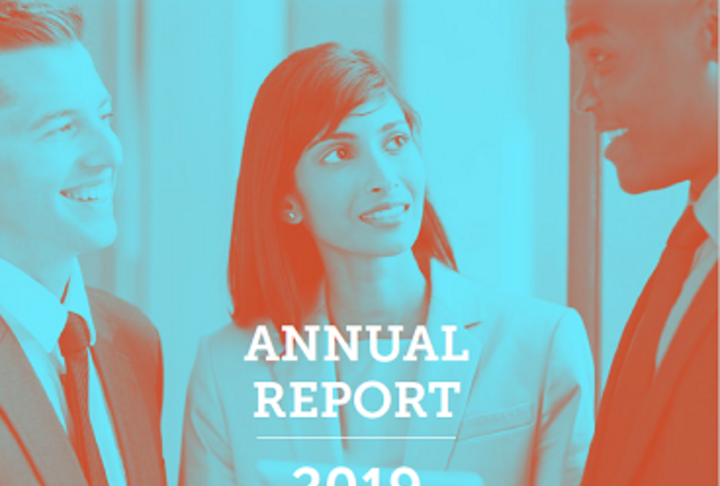 2019 Annual Report Cover with business woman in the center looking at an african-american business man