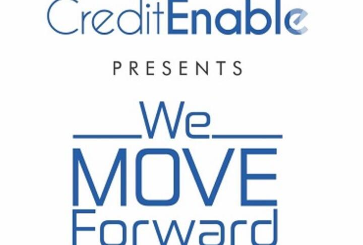 CreditEnable presents We Move Forward in white background with blue letters