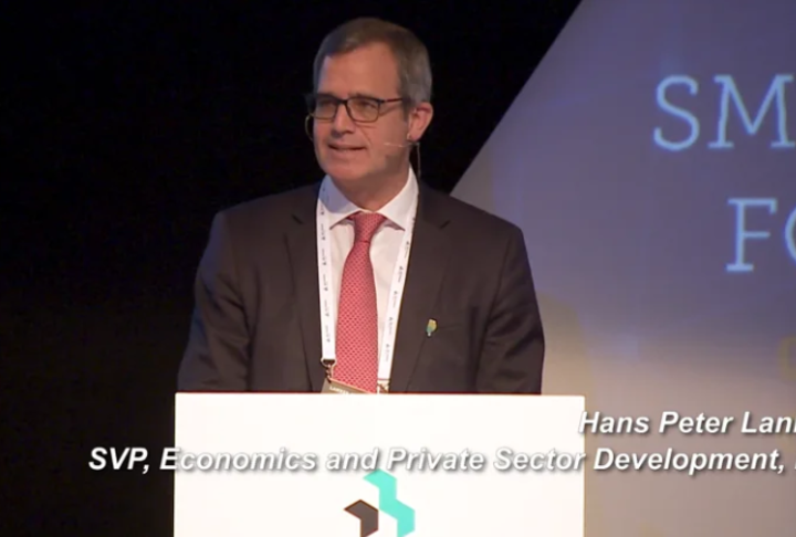 Video: Hans Peter Lankes, SVP of IFC, delivers opening remarks at the Global SME Finance Forum 2019