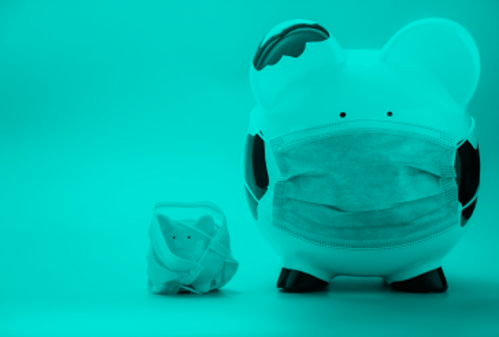 Two piggy banks with masks, one large, one small.