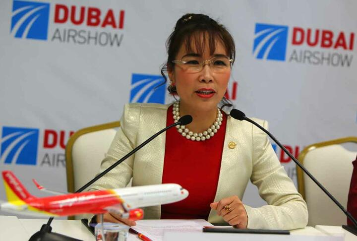 This file photo shows Nguyen Thi Phuong Thao, President and CEO of Vietnamese airline carrier Vietjet, speaking during a press conference in Dubai-AFP Photo