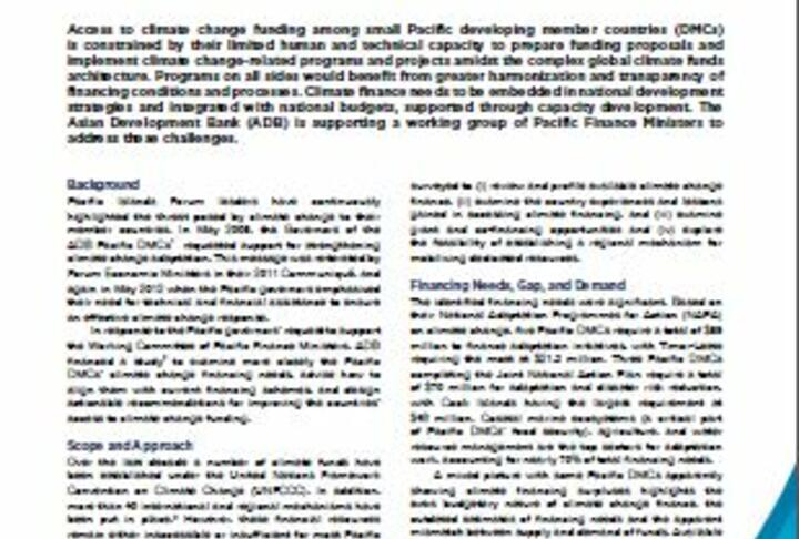 Finance For Climate Change Responses in Small Pacific Developing Countries