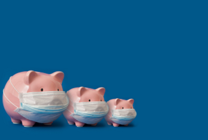 Three piggy banks with masks on a blue background