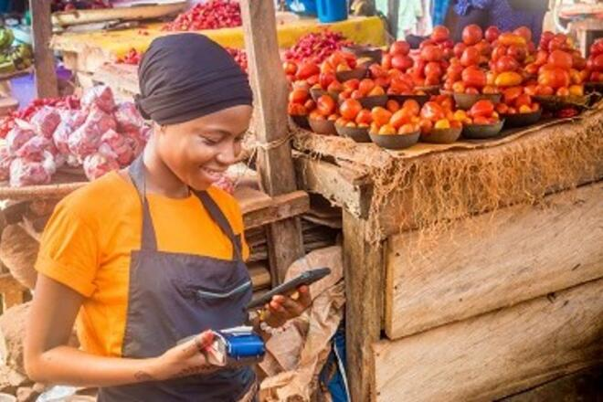 Woman selling fruits in a market using mobile payment