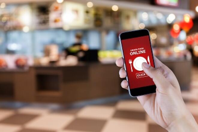 Phone with image of Order Online Food message