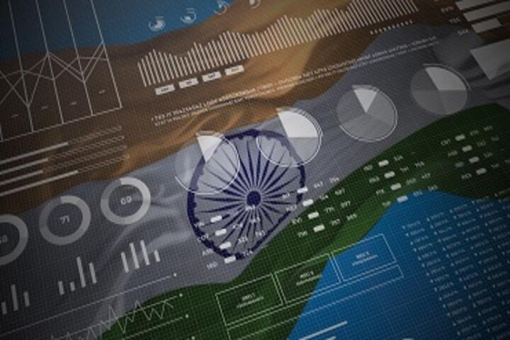 Data graphics with Indian flag as background