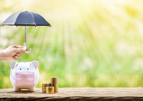 piggy bank with mask under umbrella